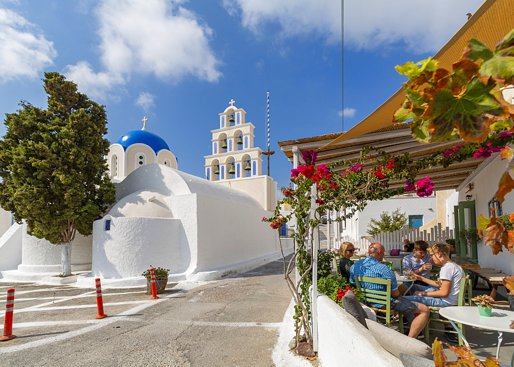 View of St. Epifanios Traditional Orthodox Church, Akrotiri, Thira, Santorini, Cyclades Islands, Greece, Europe