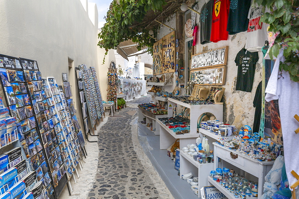 View of souvenirs on street in Pyrgos, Thira, Santorini, Cyclades Islands, Greece, Europe