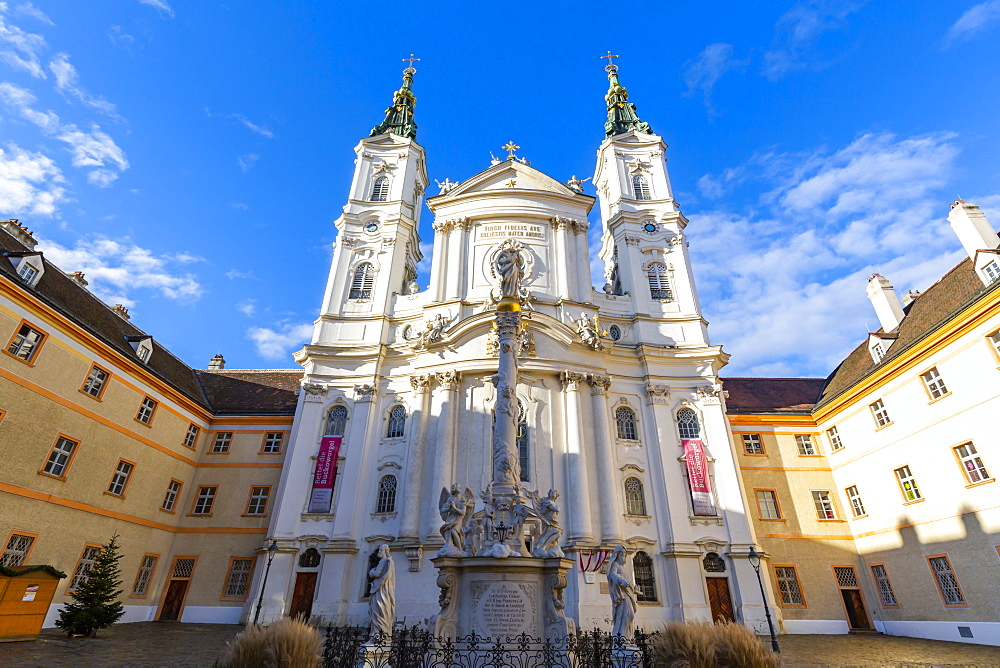 View of Catholic Church Maria Treu in Jodok Fink Platz, Vienna, Austria, Europe