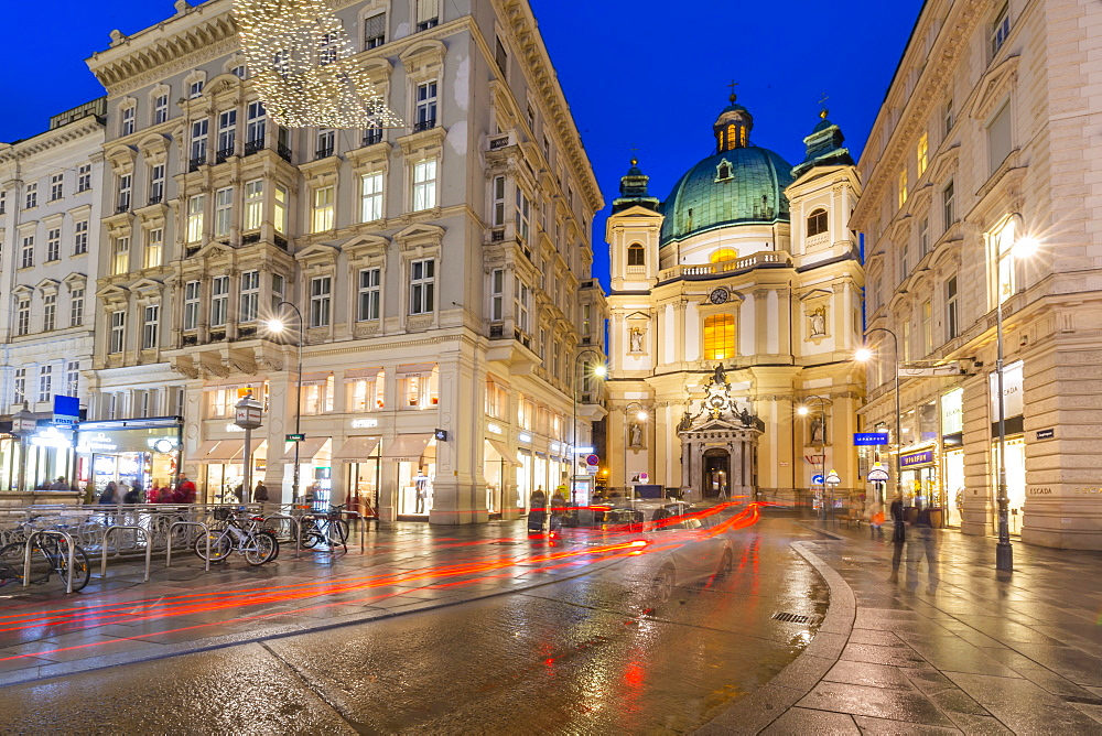 View of St. Peter's Catholic Church on Graben at dusk, Vienna, Austria, Europe