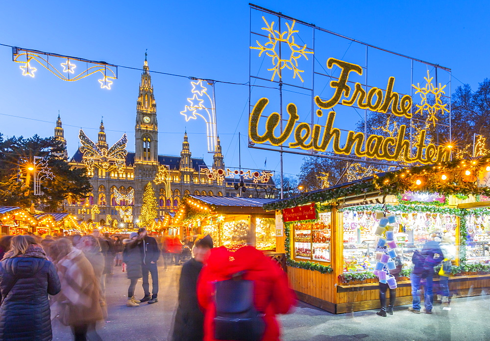 Rathaus and Christmas market stalls at night in Rathausplatz, Vienna, Austria, Europe
