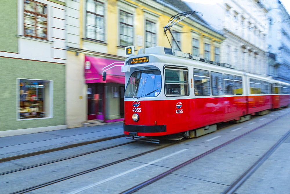 City tram near Rathausplatz, Vienna, Austria, Europe