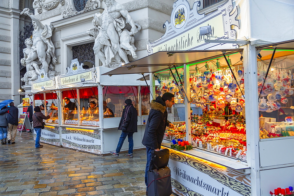 Christmas Market stalls in Michaelerplatz, Vienna, Austria, Europe