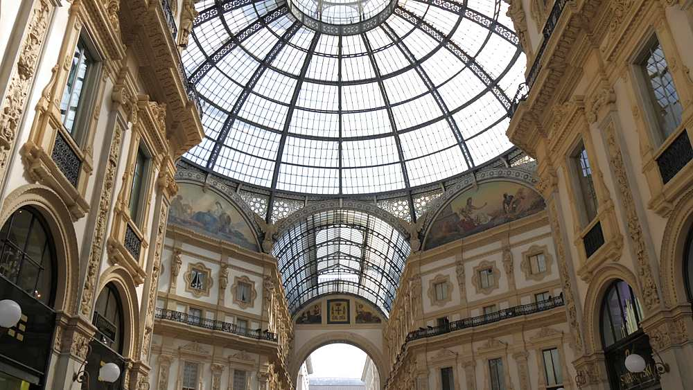 Tracking shot of interior of Galleria Vittorio Emanuele II, Milan, Lombardy, Italy, Europe - 844-18724