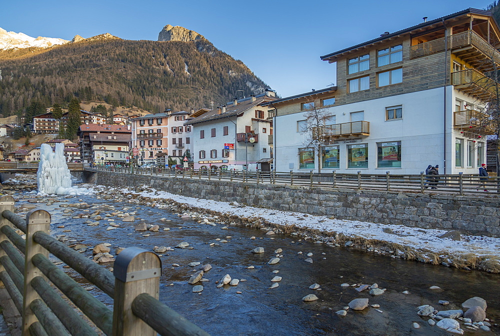 View of Moena and Avisio River in winter, Province of Trento, South Tyrol, Italy, Europe - 844-18851