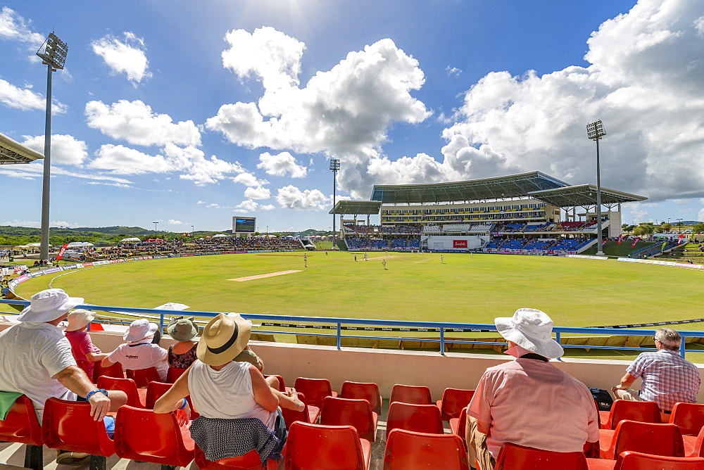 View of cricket match at Sir Vivian Richards Stadium, St George, Antigua, Wast Indies, Caribbean, Central America