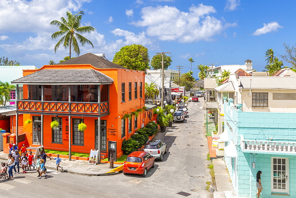 Elevated view of Holetown street, Barbados, West Indies, Caribbean, Central America
