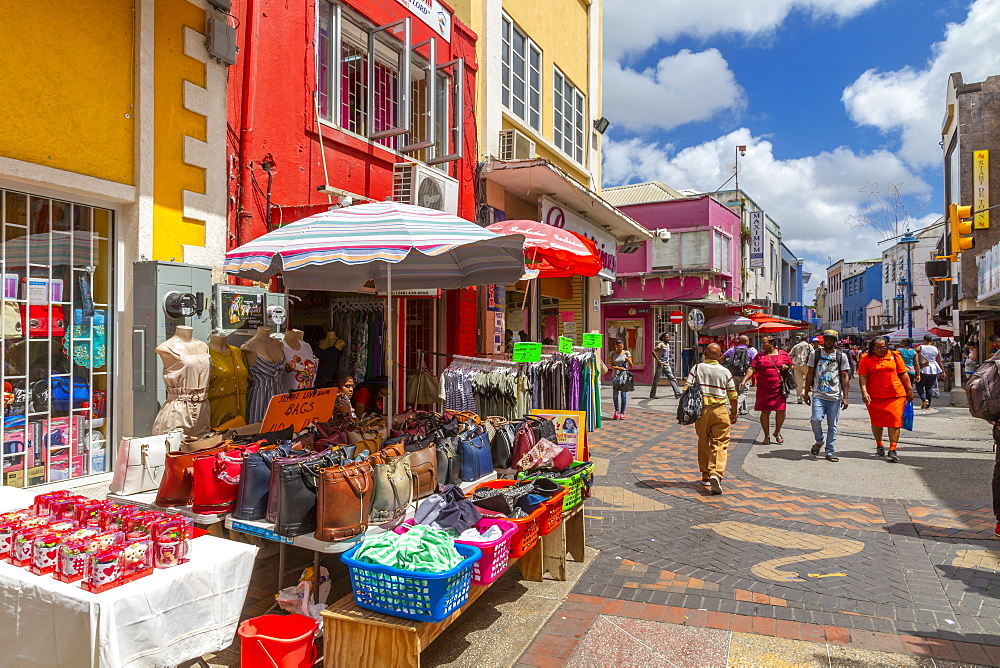 Colourful stalls and shops on Swan Street, Bridgetown, Barbados, West Indies, Caribbean, Central America