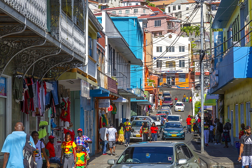 View of busy street in St. George's, Grenada, Windward Islands, West Indies, Caribbean, Central America