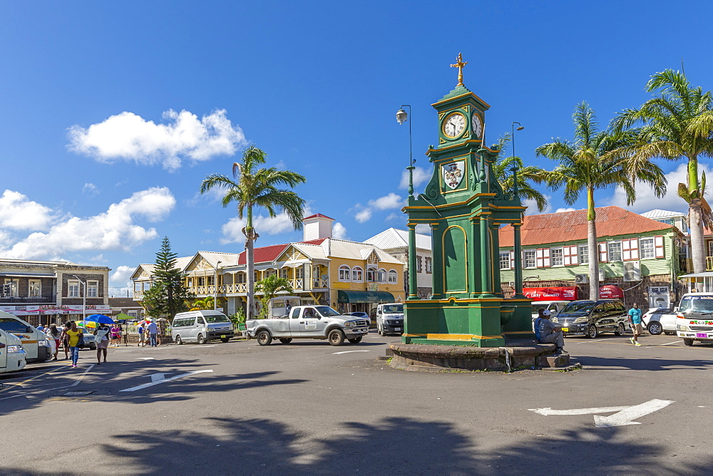 View of The Circus and Memorial Clock, Basseterre, St Kitts & Nevis, West Indies, Caribben, Central America