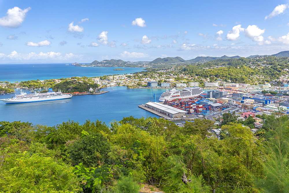 Elevated view of Castries, Castries, St Lucia, Caribbean, West Indies, Central America