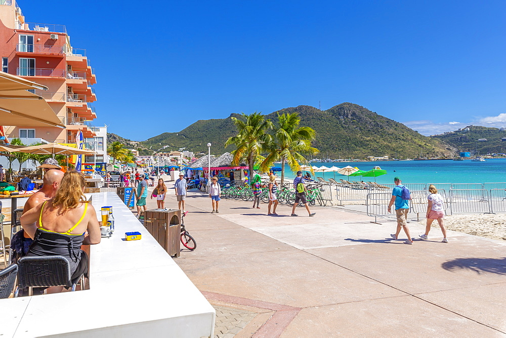 View of beach bar overlooking Caribbean Sea, Philipsburg, St. Maarten, Leeward Islands, West Indies, Caribbean, Central America