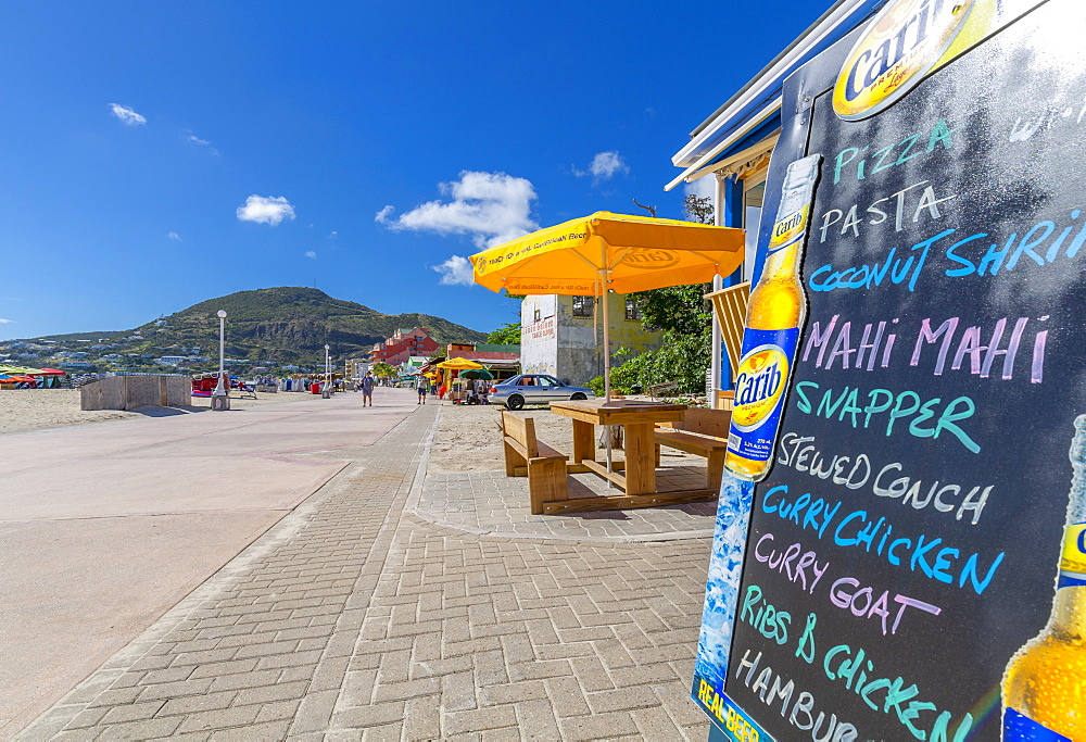 View of beach bar overlooking Caribbean Sea, Philipsburg, St Maarten, Caribbean, Leeward Islands, West Indies, Central America