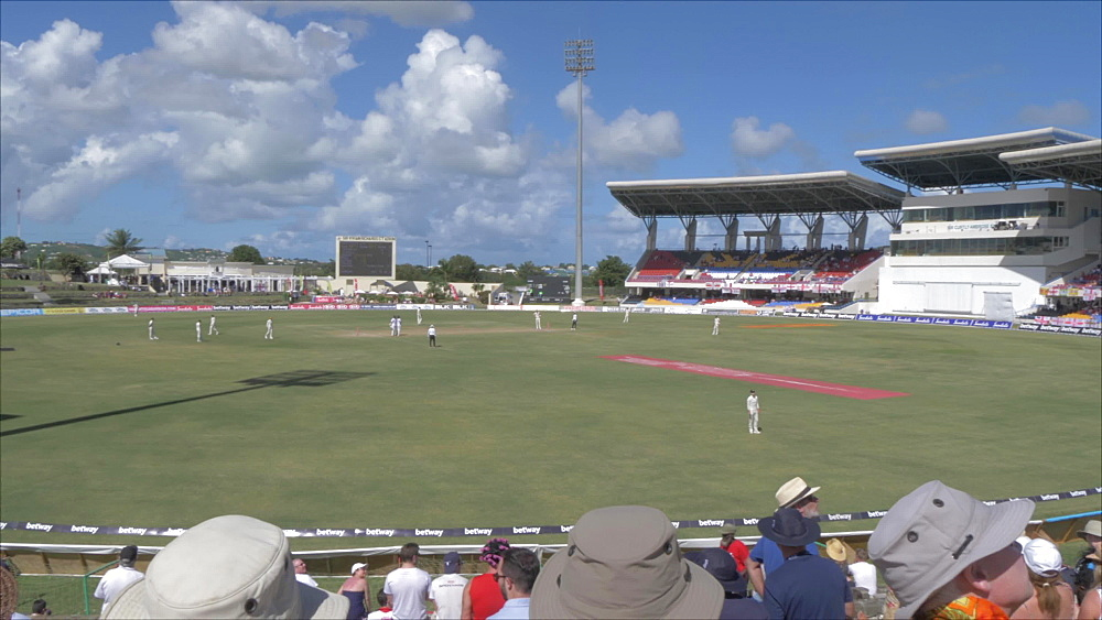 Pan shot of interior of Sir Vivian Richards Cricket Ground, Antigua and Barbuda, Caribbean Sea, West Indies, Caribbean, Central America - 844-19022