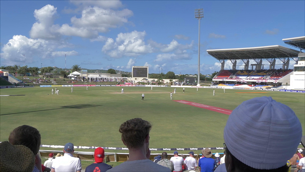 Pan shot of interior of Sir Vivian Richards Cricket Ground, Antigua and Barbuda, Caribbean Sea, West Indies, Caribbean, Central America - 844-19024