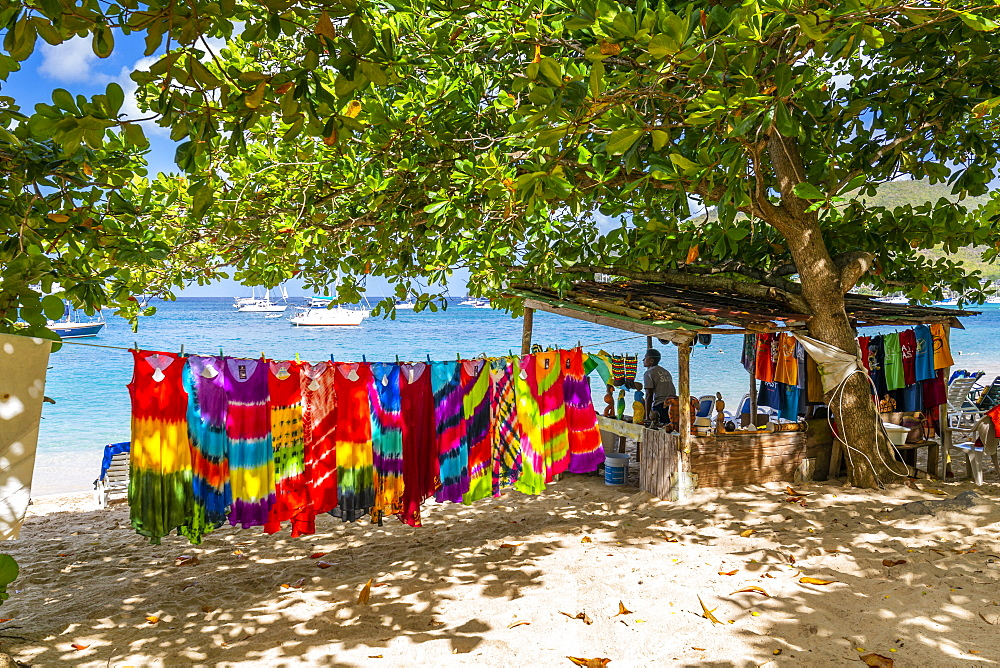 Colourful garments at Port Elizabeth, Admiralty Bay, Bequia, The Grenadines, St. Vincent and the Grenadines, Windward Islands, West Indies, Caribbean, Central America