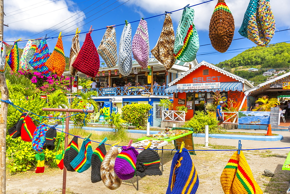Colourful shops in Port Elizabeth, Admiralty Bay, Bequia, The Grenadines, St. Vincent and the Grenadines, Windward Islands, West Indies, Caribbean, Central America - 844-19253