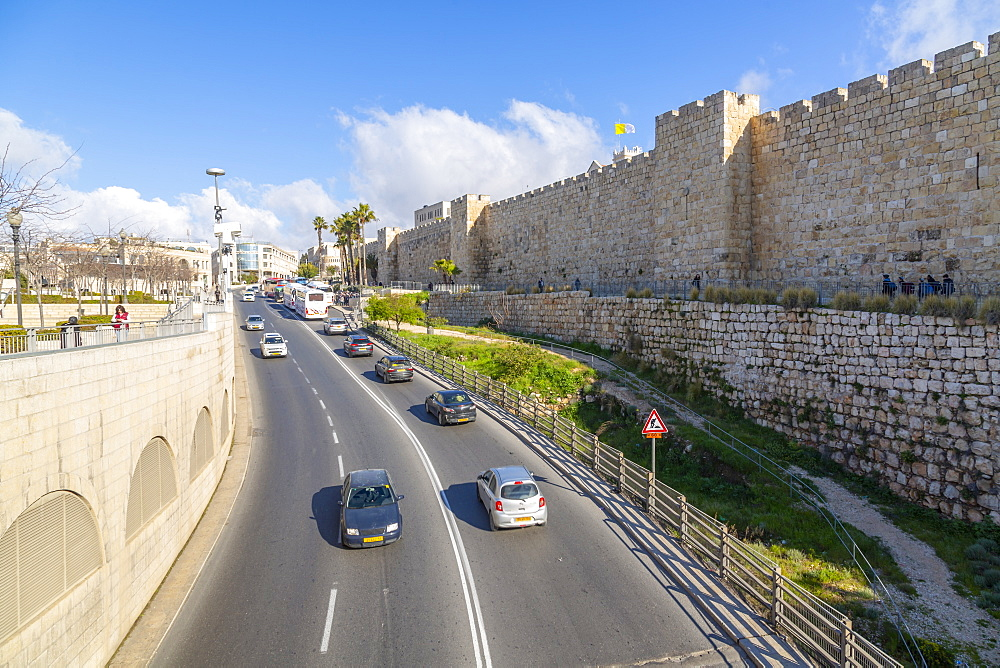 View of Old City wall from Jaffa Gate, Old City, UNESCO World Heritage Site, Jerusalem, Israel, Middle East