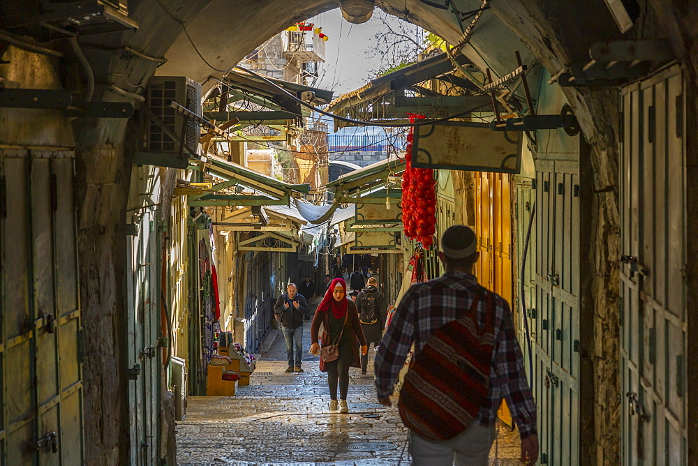 View of street in Old City, Old City, UNESCO World Heritage Site, Jerusalem, Israel, Middle East - 844-19262