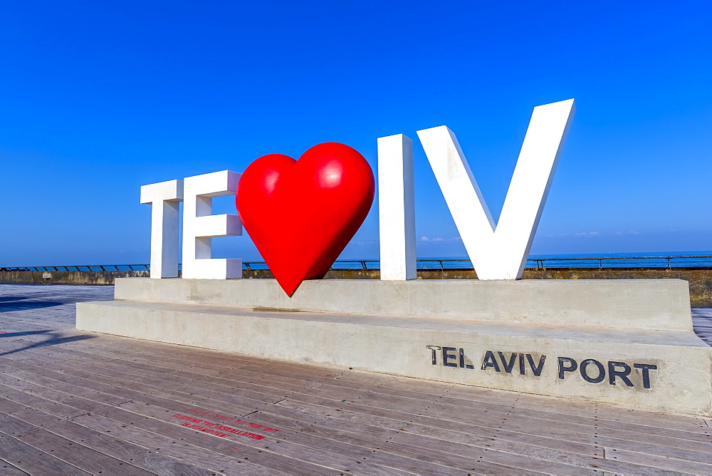 View of Tel Aviv sign with red heart in Old Port, Tel Aviv, Israel, Middle East