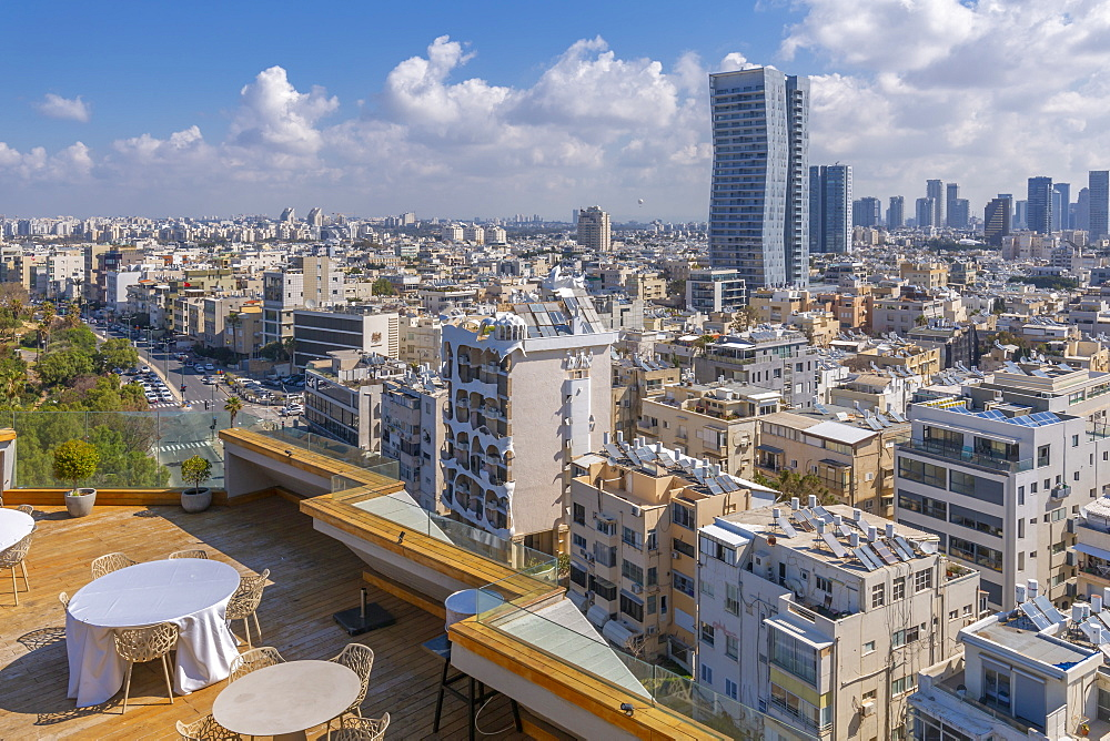 View of city skyline from hotel terrace, Tel Aviv, Israel, Middle East