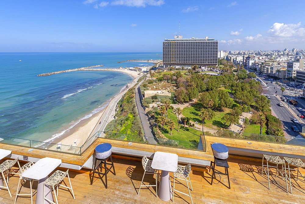 View of Independence Park, the Hilton Hotel and Hayarkon Street, Tel Aviv, Israel, Middle East