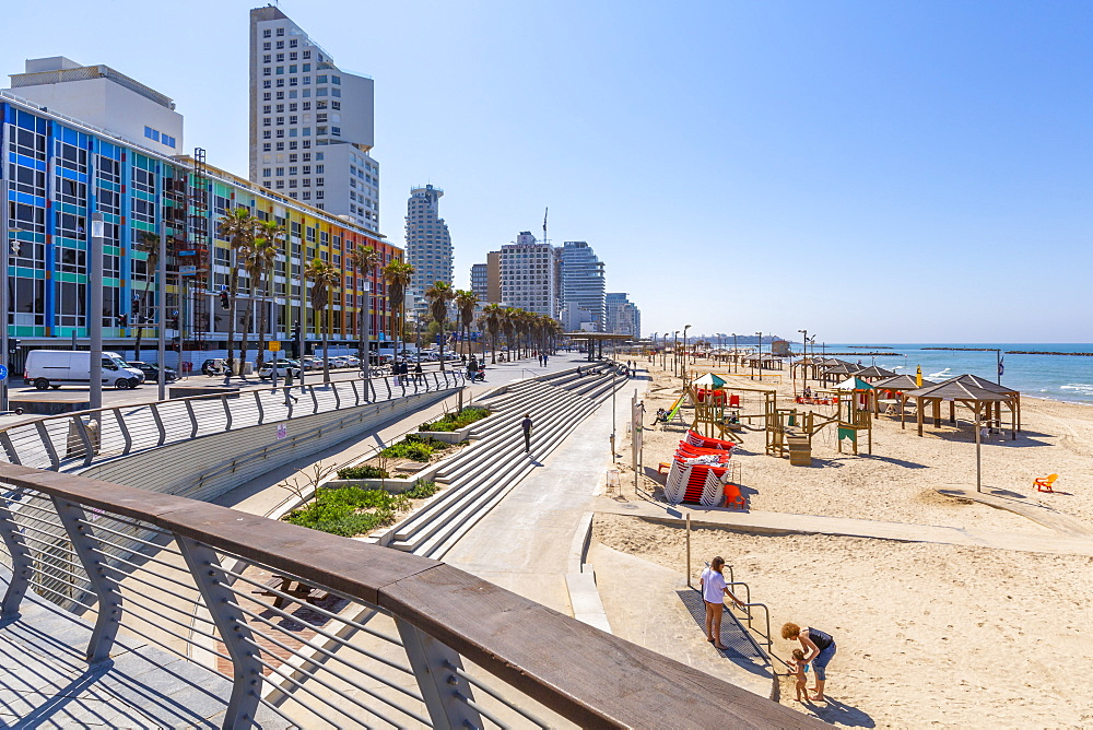 View of Bograshov Beach and sea front hotels, Tel Aviv, Israel, Middle East
