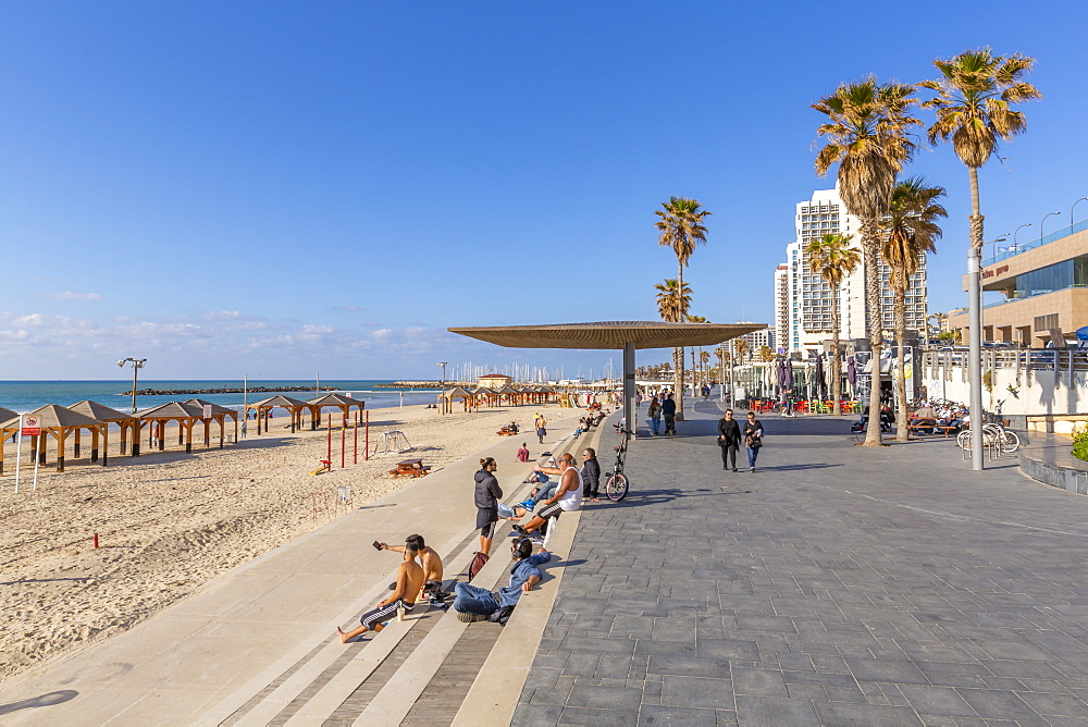 View of hotels and promenade on Hayarkon Street, Tel Aviv, Israel, Middle East