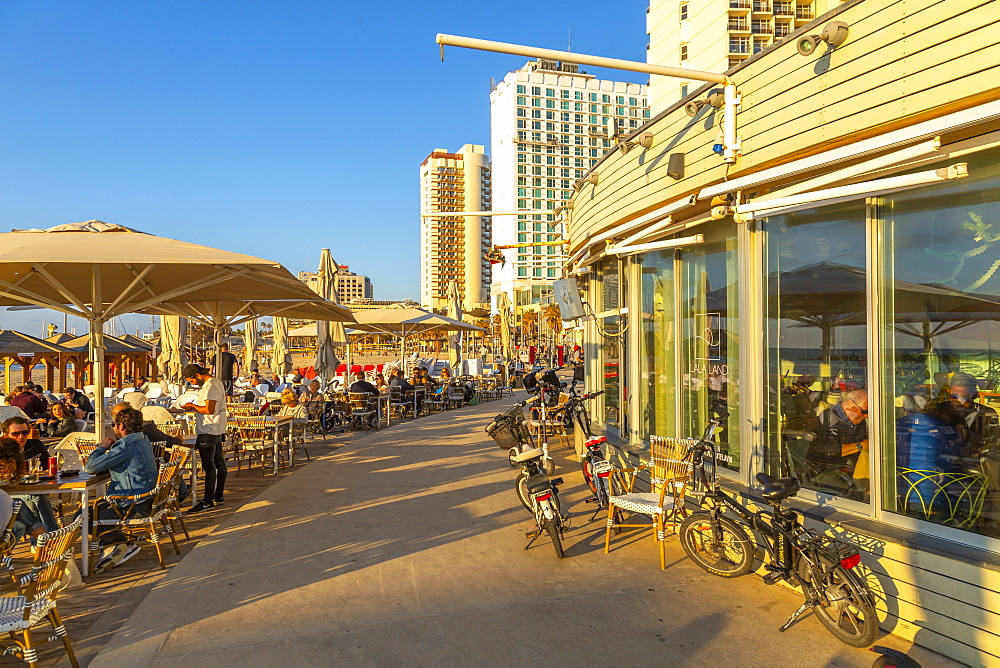 View of cafe restaurants on promenade, Hayarkon Street, Tel Aviv, Israel, Middle East