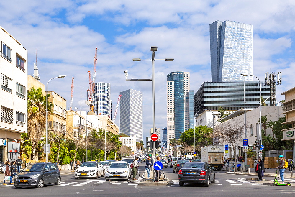 View of buildings and Eliezer Kaplan Street, Tel Aviv, Israel, Middle East