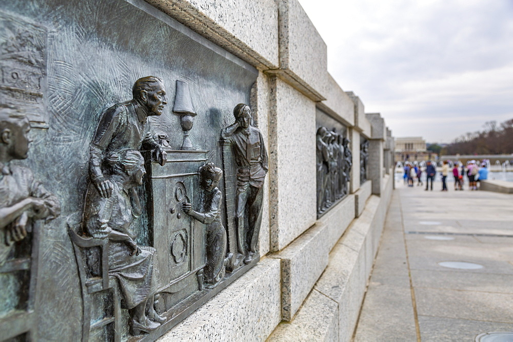 View of World War Two Memorial detail, Washington D.C., United States of America, North America