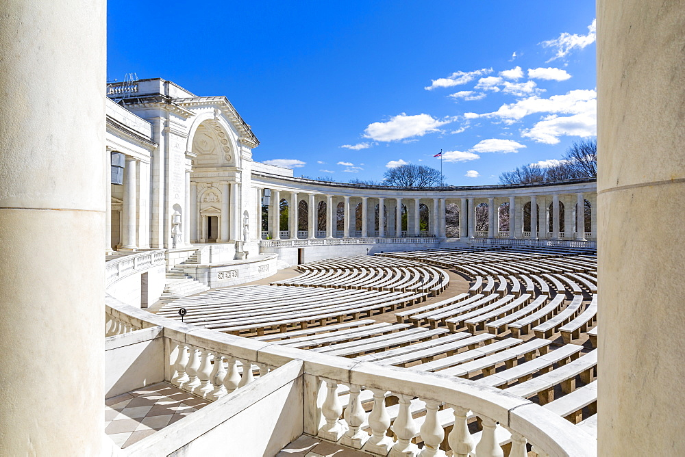 View of Memorial Amphitheater in Arlington National Cemetery, Washington DC, District of Columbia, United States of America
