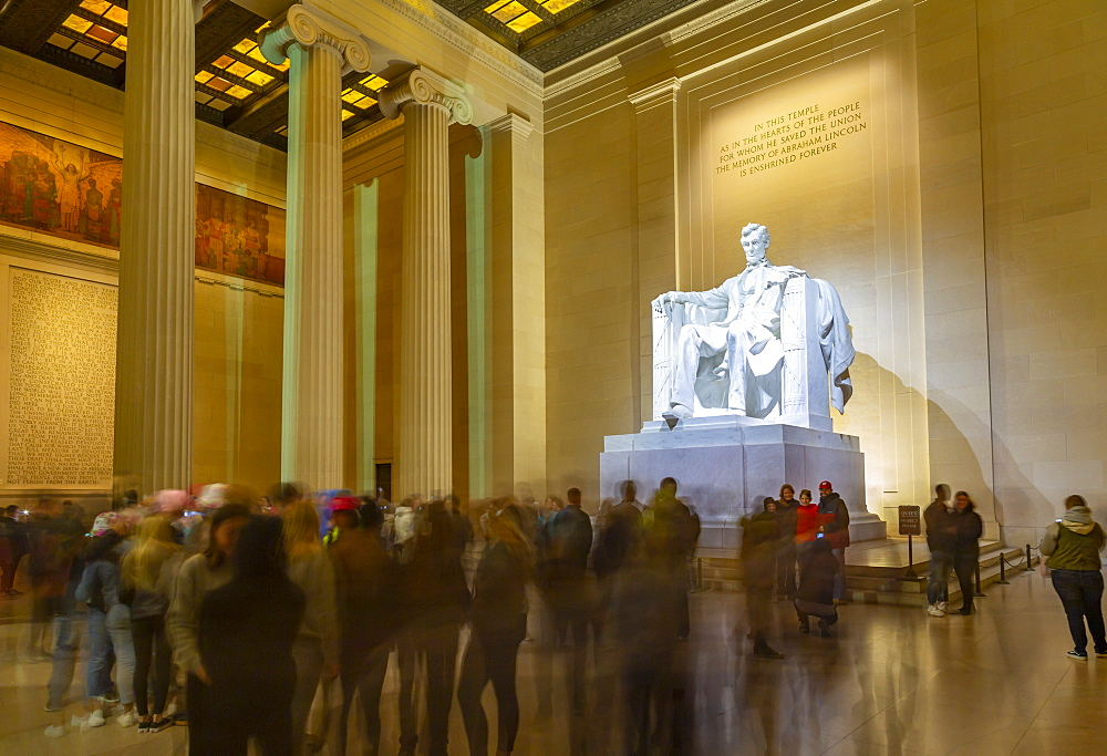 View of Lincoln statue in the Lincoln Memorial at night, Washington D.C., United States of America, North America