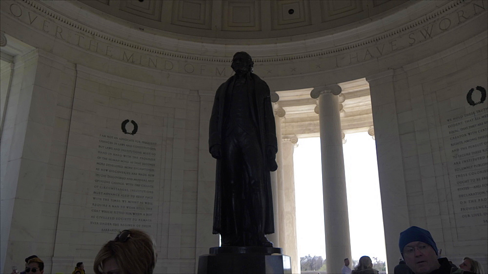 Jefferson statue inside Thomas Jefferson Memorial, Washington DC, United States of America, North America