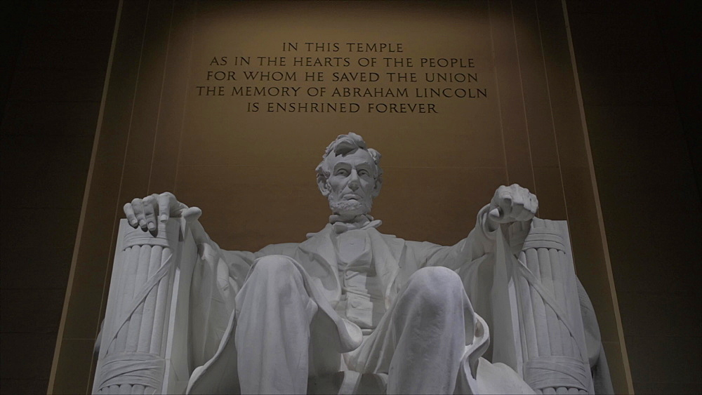 Close tilt shot of statue of Lincoln at night Lincoln Memorial, Washington DC, District of Columbia, USA, North America