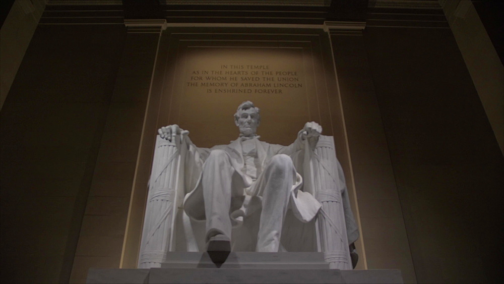 Zoom out shot of statue of Lincoln at night Lincoln Memorial, Washington DC, District of Columbia, USA, North America