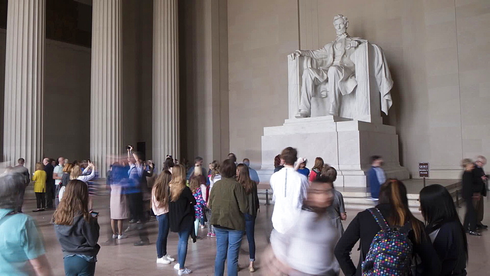 Time lapse of people at Lincoln Memorial interior, Washington DC, United States of America, North America