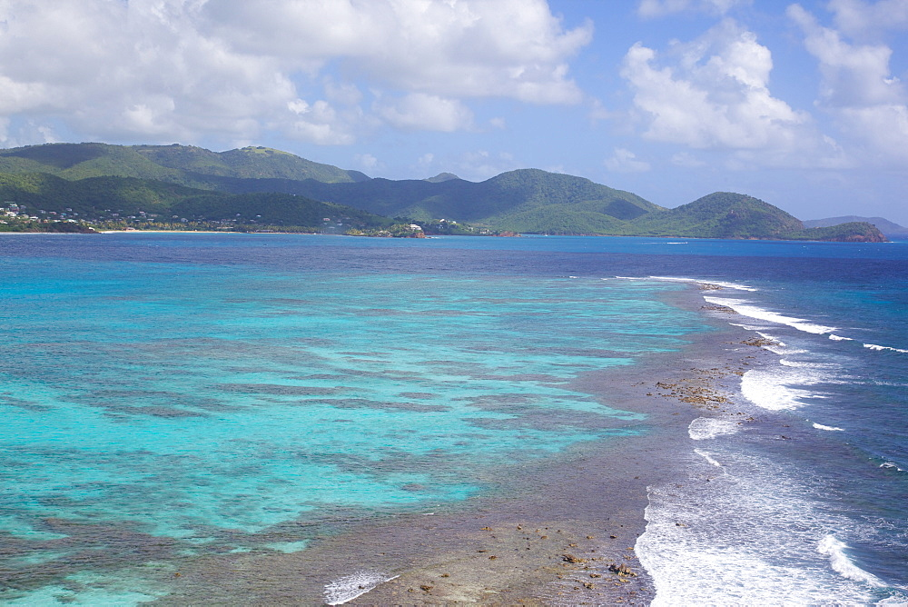 View over South Coast and coral reef, Antigua, Leeward Islands, West Indies, Caribbean, Central America