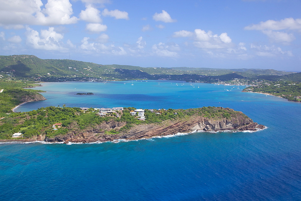 View of entrance to Falmouth Harbour, Antigua, Leeward Islands, West Indies, Caribbean, Central America