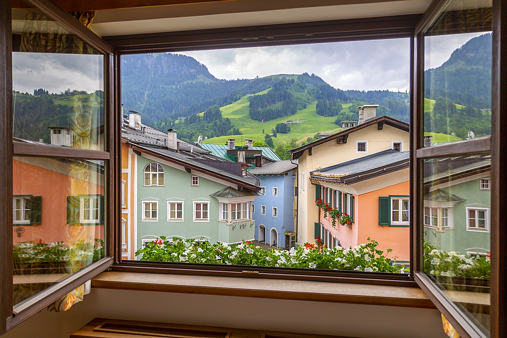 View of colourful architecture from window of Vordarstadt, Kitzbuhel Austrian Tyrol, Austria, Europe