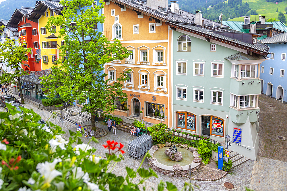 View of colourful architecture from window of Vordarstadt, Kitzbuhel, Austrian Tyrol, Austria, Europe