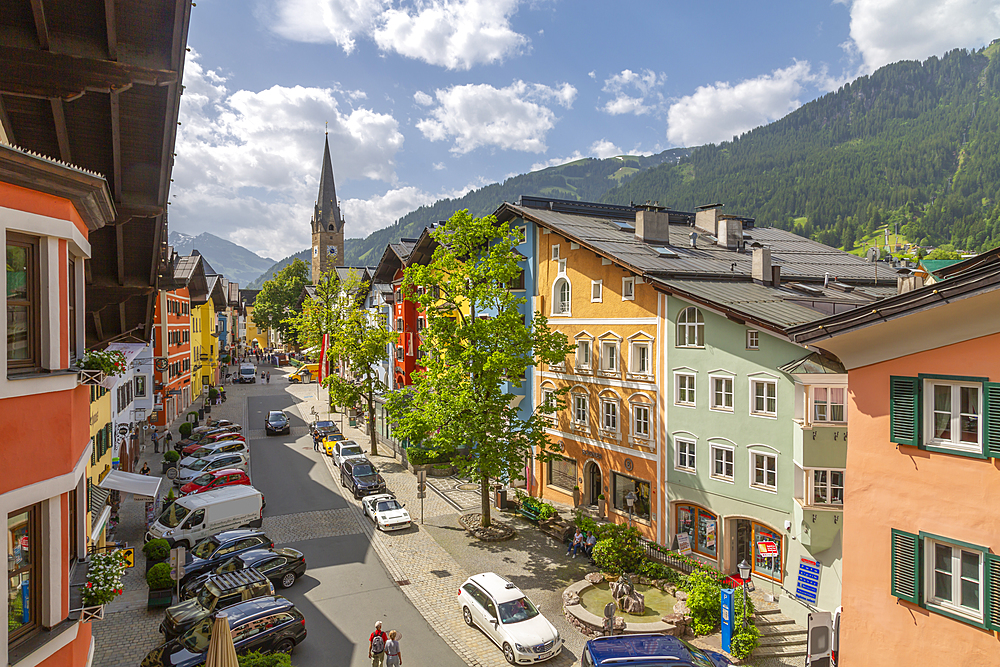 View of colourful buildings on Vordastadt from hotel window, Kitzbuhel, Tyrol, Austria, Europe
