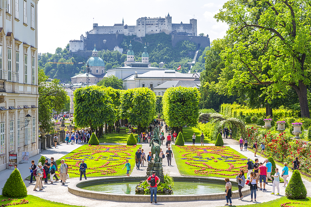 View of Hohensalzburg Castle from Mirabell Gardens, UNESCO World Heritage Site, Salzburg, Austria, Europe