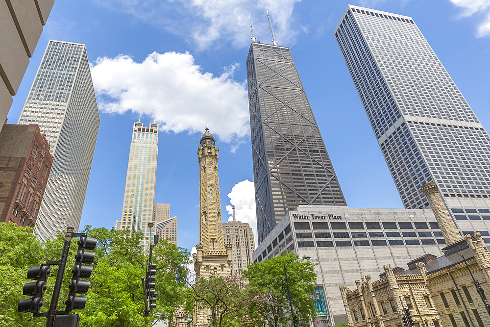 View of The Water Tower and John Hancock Tower on Michigan Avenue, Chicago, Illinois, United States of America, North America