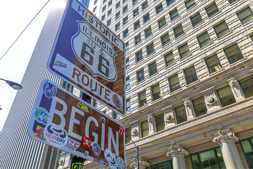 View of beginning of Route 66, Downtown Chicago, Illinois, United States of America, North America