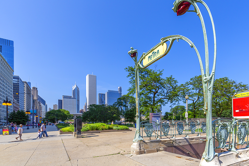 View of Paris style Metro entrance, Downtown Chicago, Illinois, United States of America, North America