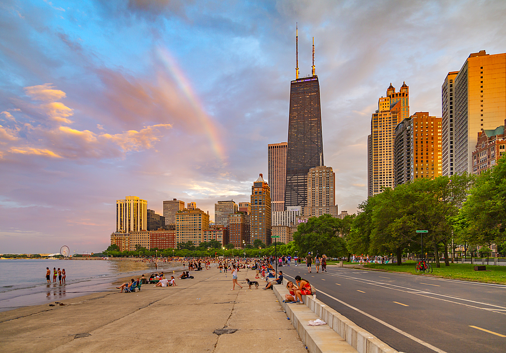 View of Chicago skyline and rainbow from North Shore, Chicago, Illinois, United States of America, North America