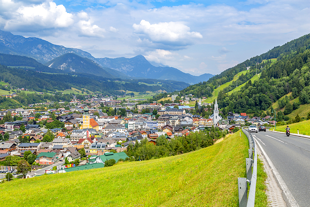 Panoramic view of Schladming town, Styria, Austrian Tyrol, Austria, Europe