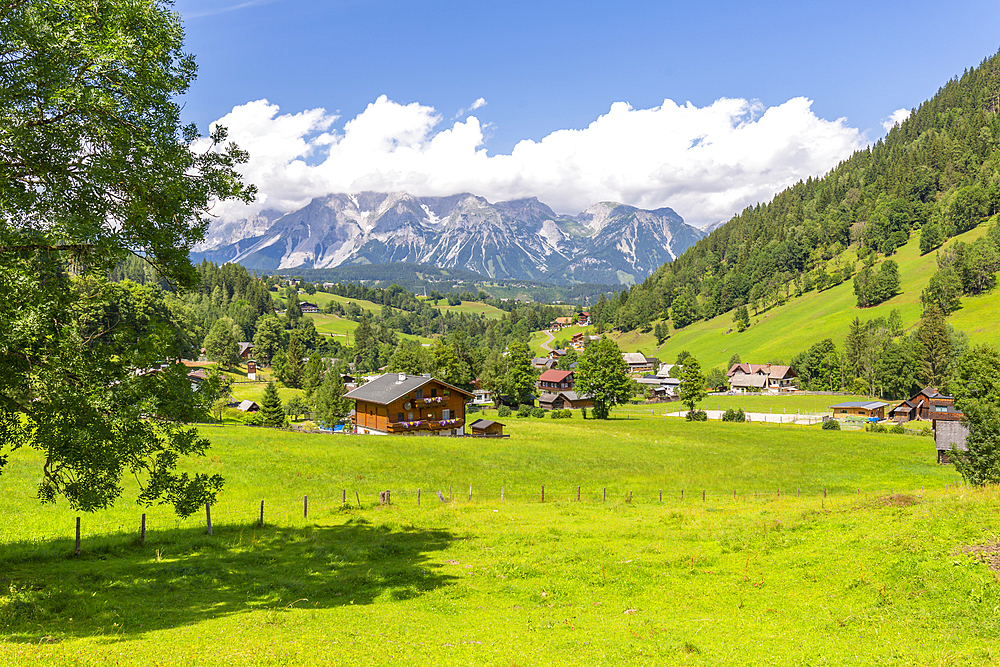 Panoramic view of mountains and meadows near Untertal, Schladming, Styria, Austrian Tyrol, Austria, Europe