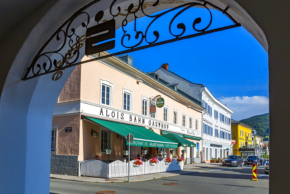 View of colourful bars and shops in Radstadt, Styria, Austria, Europe